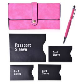 Fuchsia Colour Ladies Wallet (Size 19.5x10 Cm), Simulated Pink Diamond Filled Ball Pen in Silver Tone with RFID Blocker Black Colour 4 Card Holder