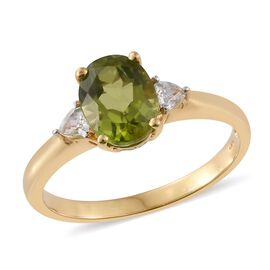 Hebei Peridot, Natural Cambodian Zircon 2.40 Ct Silver Ring in Gold Overlay
