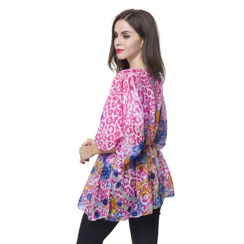 Pink, Blue and Multi Colour Leopard and Jewellery Pattern Poncho (Free Size)