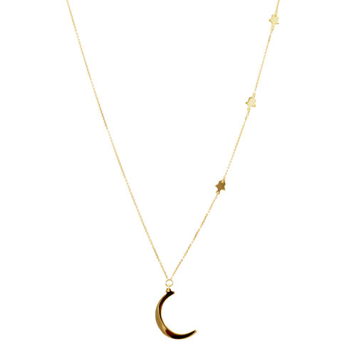 14K Gold Overlay Sterling Silver Moon and Star Necklace (Size 18)