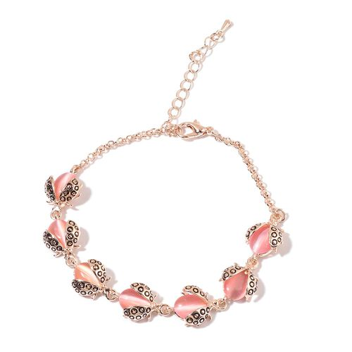Simulated Pink Cats Eye Bracelet (Size 8 with 2 inch Extender) in Rose Gold Tone