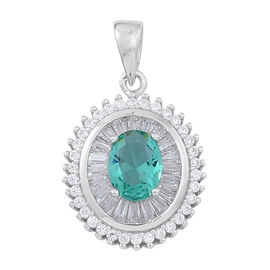 ELANZA AAA Simulated Paraiba Tourmaline (Ovl), Simulated White Diamond Pendant in Rhodium Plated Sterling Silver