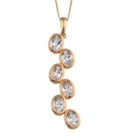 Espirito Santo Aquamarine (Ovl) Pendant With Chain in 14K Gold Overlay Sterling Silver 3.750 Ct.