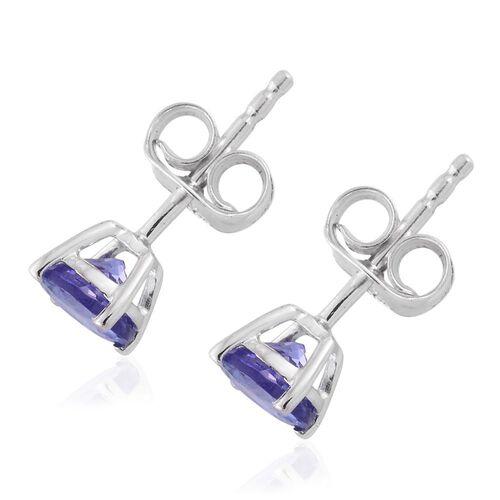 9K White Gold 1 Carat AA Tanzanite Solitaire Stud Earrings