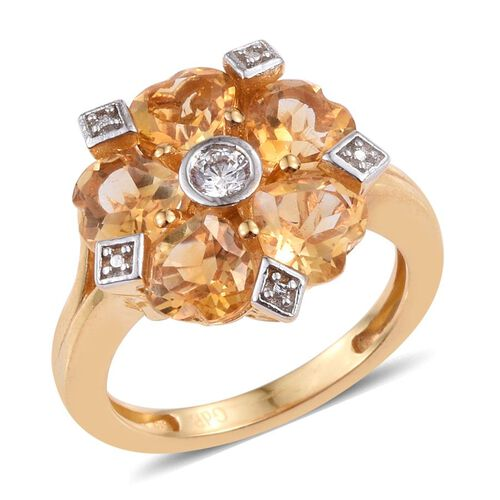 Citrine (Hrt), Simulated Diamond Ring in ION Plated 18K Yellow Gold Bond 3.500 Ct.