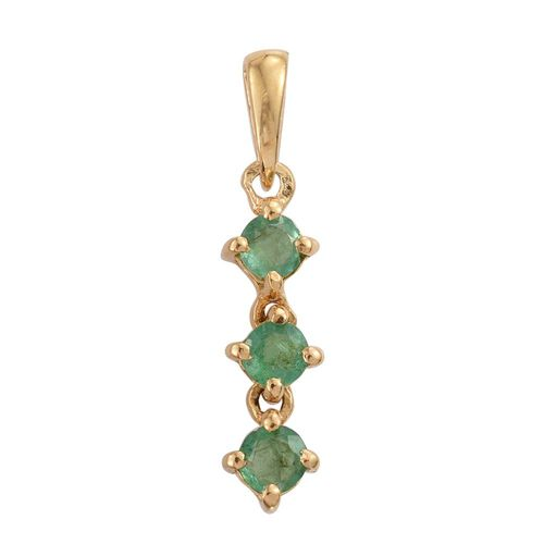 Zambian Emerald 0.50 Ct Trilogy Pendant in Gold Overlay