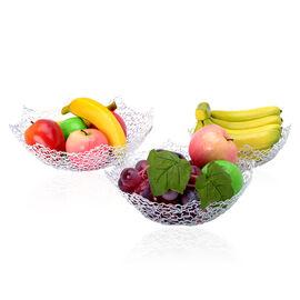 Set of 3 - Octagon Shape Fruit Bowl Made of Wire (Size 20.5x7 Cm, 26x8 Cm, 30x8.5 Cm)