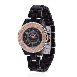 GENOA AAA Austrian Crystal Black Ceramic Strap Watch - Rose Gold Tone with Gift Box