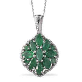 Kagem Zambian Emerald (Mrq) Pendant With Chain in Platinum Overlay Sterling Silver 2.400 Ct.