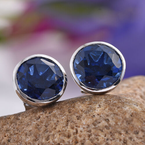 Ceylon Colour Quartz (Rnd) Stud Earrings (with Push Back) in Platinum Overlay Sterling Silver 8.000 Ct.