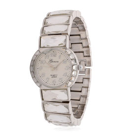 GENOA Japanese Movement White Dial White Glass Water Resistant Watch in Silver Tone Strap