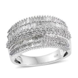 Diamond Cluster Ring in Platinum Overlay Sterling Silver 1.500 Ct.