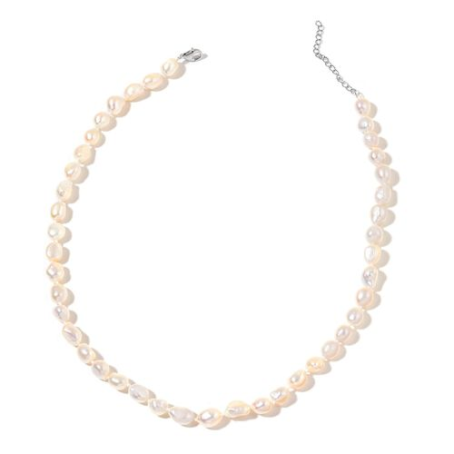 Fresh Water White Pearl (9-10mm) Necklace (Size 18 with 2 inch Extender) in Rhodium Plated Sterling Silver