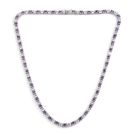 Close Out Deal AAA Simulated Amethyst (Rnd), Simulated Diamond Necklace (Size 17) in Silver Bond