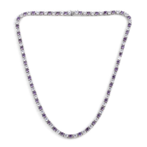 Close Out Deal ELANZA AAA Simulated Amethyst (Rnd), Simulated Diamond Necklace (Size 17) in Silver Bond