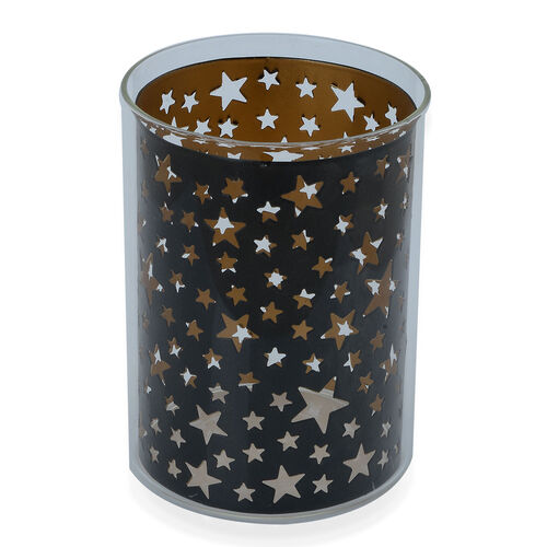 Home Decor - Black Colour Star Pattern Glass Candle Holder