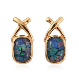 Australian Mosaic Opal (Cush) Stud Earrings (with Push Back) in 14K Gold Overlay Sterling Silver.
