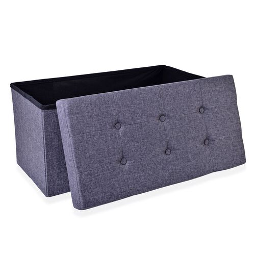 Grey Colour Linen Foldable Large Storage Ottoman with Padded Seat (Size 75x35x35 Cm)