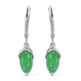 Green Jade (Mrq) Lever Back Earrings in Platinum Overlay Sterling Silver 2.750 Ct.