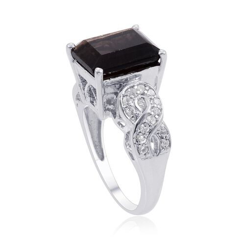 Brazilian Smoky Quartz (Oct 3.50 Ct), White Topaz Ring in Platinum Overlay Sterling Silver 3.750 Ct.