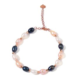 Fresh Water Multi Colour Pearl Bracelet (Size 7.5 with 1.5 inch Extender) in Rose Gold Tone