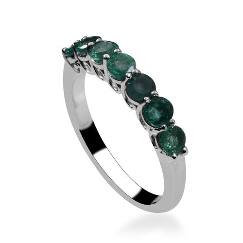 Kagem Zambian Emerald (Rnd) 7 Stone Ring in Platinum Overlay Sterling Silver 1.150 Ct.