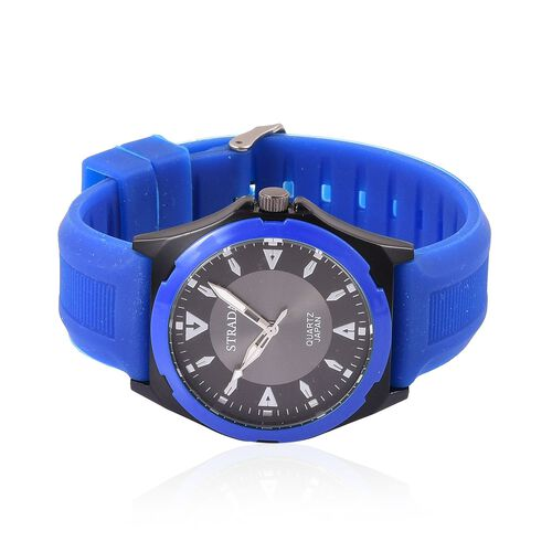 STRADA Japanese Movement Sunshine Pattern Black Dial Water Resistant Watch in Silver Tone with Stainless Steel Back and Blue Colour Silicone Strap