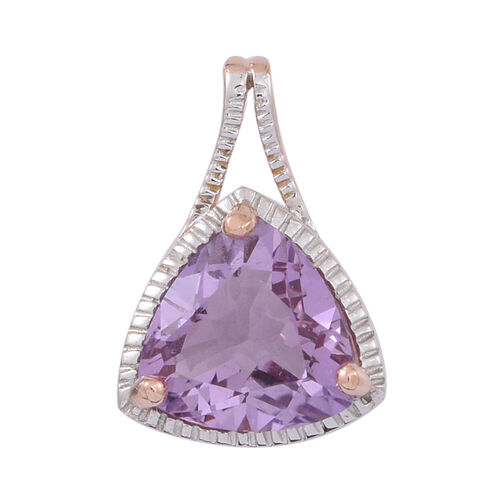 Rose De France Amethyst (Trl) Solitaire Pendant in 14K Rose Gold Overlay Sterling Silver 3.250 Ct.