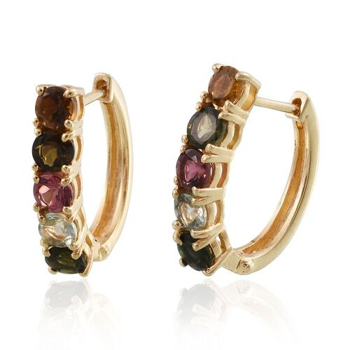 Rainbow Tourmaline (Rnd) Hoop Earrings (with Clasp) in 14K Gold Overlay Sterling Silver 2.750 Ct.