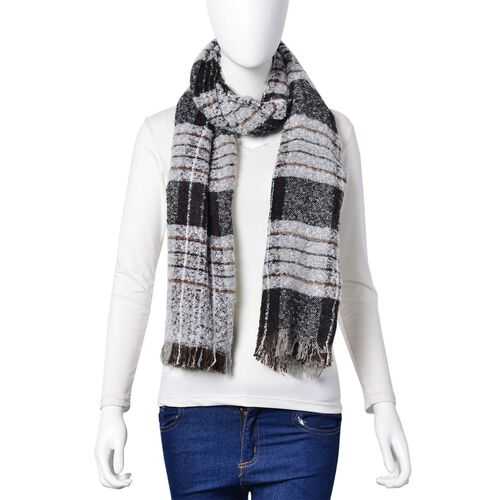 Black and Grey Colour Checks Pattern Scarf with Fringes (Size 90X66 Cm)
