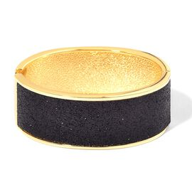 Designer Inspired Black Glitter Bangle (Size 7) in Yellow Gold Tone