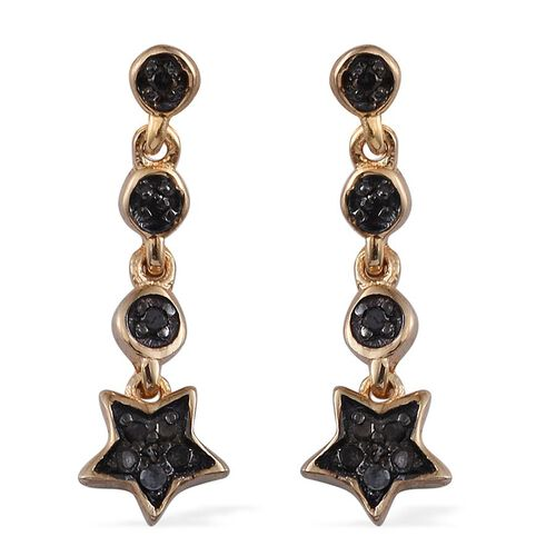 Black Diamond (Rnd) Star Earrings (with Push Back) in 14K Gold Overlay Sterling Silver 0.100 Ct.