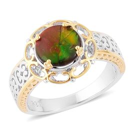 Canadian Ammolite (Rnd) Solitaire Ring in Platinum and Yellow Gold Overlay Sterling Silver 2.000 Ct.
