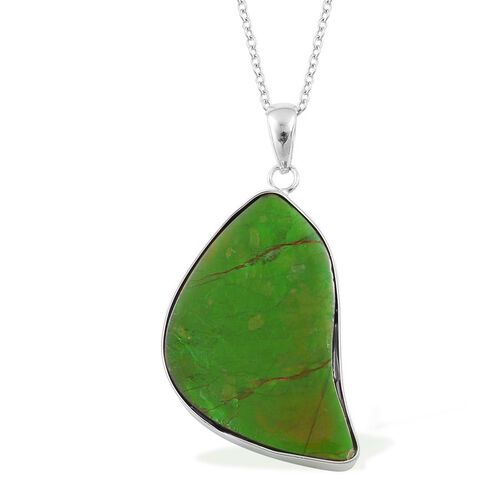 (Option 2) Canadian Ammolite Pendant With Chain in Rhodium Plated Sterling Silver 19.250 Ct.