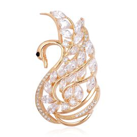 Simulated White Diamond and Black Austrian Crystal Swan Brooch in Yellow Gold Tone