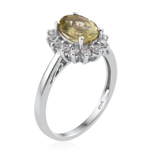 Natural Canary Apatite (Ovl 2.00 Ct), Natural Cambodian Zircon Ring in Platinum Overlay Sterling Silver 2.500 Ct.