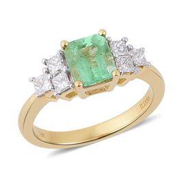 ILIANA 18K Y Gold Boyaca Colombian Emerald (Oct 1.50 Ct), Diamond Ring 2.000 Ct.