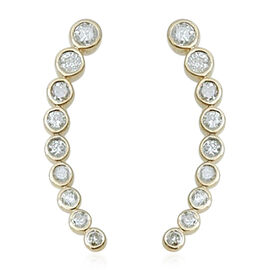 9K Y Gold SGL Certified Diamond (Rnd) (I3/ G-H) Climber Earrings 1.000 Ct.
