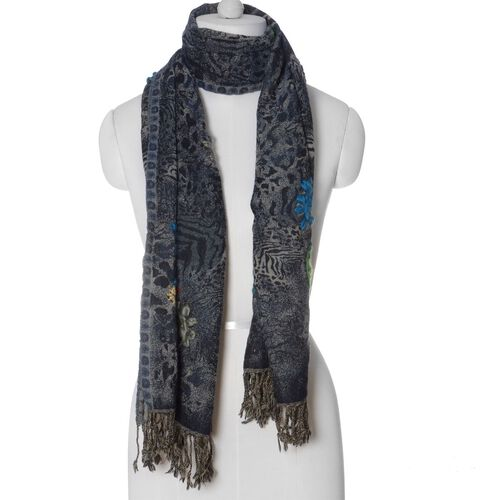 Designer Inspired 100% Merino Wool Paisley Embroidered and Tiger Skin Pattern Grey Colour Scarf (Size 70x180 Cm)