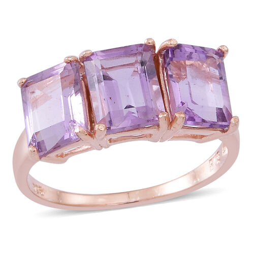 Rose De France Amethyst (Oct) Trilogy Ring in Rose Gold Overlay Sterling Silver 4.500 Ct.