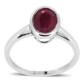 ILIANA 18K W Gold Burmese Ruby (Ovl) Solitaire Ring 2.000 Ct.