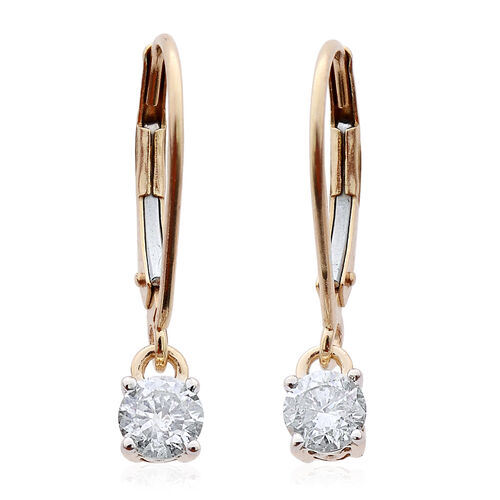 14K Y Gold SGL Certified Diamond (Rnd) (I2/G-H) Lever Back Earrings 0.500 Ct.