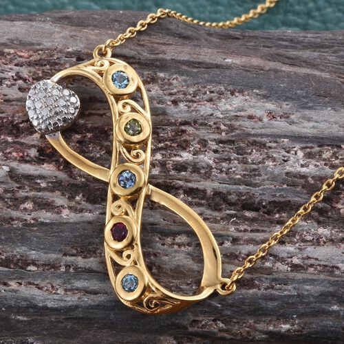 Infinity Necklace with Signity Multi Colour Topaz (Size 18) in 14K Gold Overlay Sterling Silver.