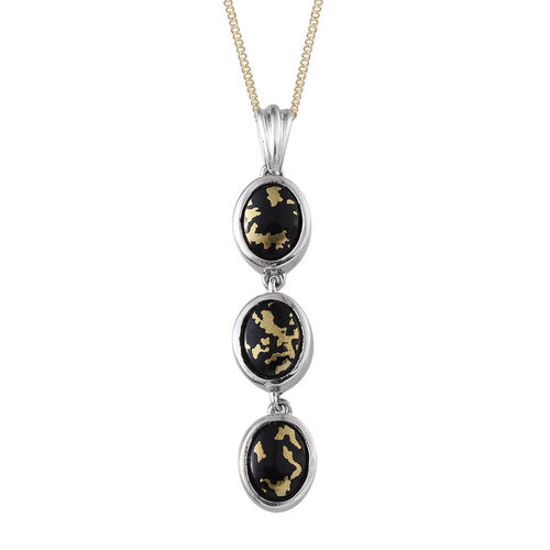 Goldenite (Ovl) Trilogy Pendant With Chain in Platinum and 14K Gold Overlay Sterling Silver 3.000 Ct.
