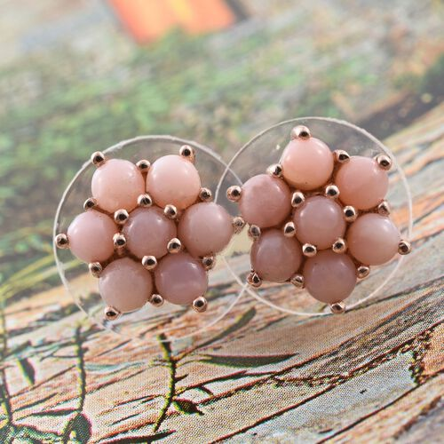 Natural Peruvian Pink Opal (Rnd) Flower Stud Earrings (with Push Back) in Rose Gold Overlay Sterling Silver 1.500 Ct.