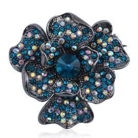 Blue Glass, White and Blue Austrian Crystal Floral Brooch in Black Tone