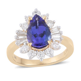 ILIANA 18K Y Gold AAAA Tanzanite (Pear 2.75 Ct), Diamond Ring 3.500 Ct.