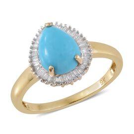 9K Y Gold AA Arizona Sleeping Beauty Turquoise (Pear 1.35 Ct), Diamond Ring 1.500 Ct.