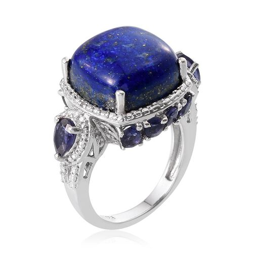 Lapis Lazuli (Cush 12.25 Ct), Iolite and Diamond Ring in Platinum Overlay Sterling Silver 13.520 Ct.