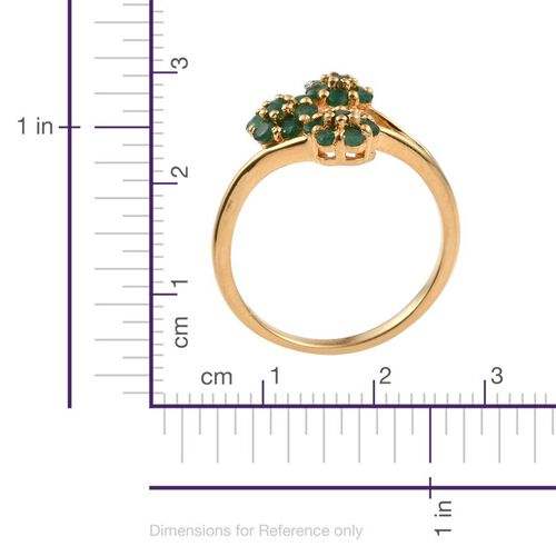 Kagem Zambian Emerald (Rnd) Triple Floral Ring in 14K Gold Overlay Sterling Silver 1.000 Ct.